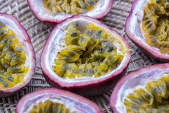 Passion fruits isolate on white background.Passion fruit is a flowering tropical vine. Close up Passion fruits isolate on white background.Passion fruit is a royalty free stock images