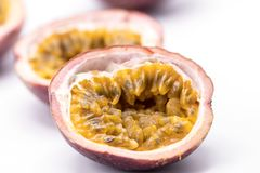 Passion fruits isolate on white background.Passion fruit is a flowering tropical vine. Close up Passion fruits isolate on white background.Passion fruit is a royalty free stock photo