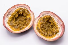 Passion fruits isolate on white background.Passion fruit is a flowering tropical vine. Close up Passion fruits isolate on white background.Passion fruit is a stock image