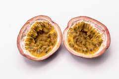 Passion fruits isolate on white background.Passion fruit is a flowering tropical vine. Close up Passion fruits isolate on white background.Passion fruit is a royalty free stock photography