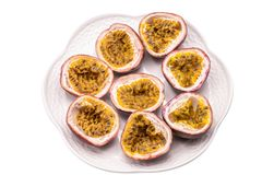 Passion fruits isolate on white background.Passion fruit is a flowering tropical vine. Close up Passion fruits isolate on white background.Passion fruit is a royalty free stock image
