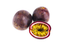 Passion fruits isolated on white background with c Royalty Free Stock Images