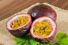 Passion fruits. Slice and cross section Stock Image