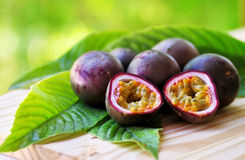 Passion fruits on  table Royalty Free Stock Photo