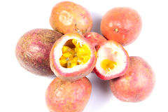 Passion fruits on white background Stock Image