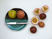 Passion fruits on white background Royalty Free Stock Images