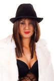 Passion girl with black hat Royalty Free Stock Photo