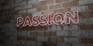 PASSION - Glowing Neon Sign on stonework wall - 3D rendered royalty free stock illustration Stock Photography