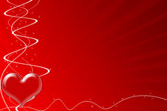 Passion heart for Valentine's Day. Red passion heart on red starbust background Royalty Free Stock Photo