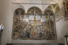 Passion Jesus Christ. The Passion Jesus Christ mural painting by Leonardo da Vinci from Renaissance, late 1490s after restoration.located next to The Last Supper Stock Image