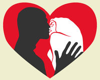 Passion kiss. Couple in love with red heart pattern in the background Stock Photos