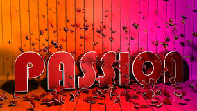 Passion letter concept. Passion and heart decoration of 3d letters Stock Illustration