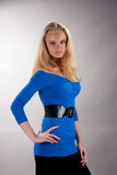 Passion look young blonde in blue dress Royalty Free Stock Images