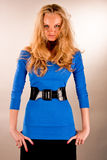 Passion look young blonde in blue dress Stock Photo