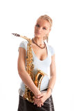 Passion looking young blonde with sax Stock Photo