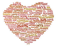 Passion, Love and Desire. A big Valentine Heart formed from words like Passion, Love, Desire, Relationship, Happiness, and Romance vector illustration
