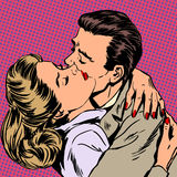 Passion man woman embrace love relationship style. Passion man woman embrace love relationship Halftone style pop art retro vintage vector illustration