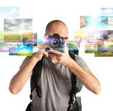 Passion for photography. Photographer boy shows his passion for photography Royalty Free Stock Image