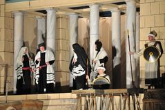 Passion play. Mystery of the Passion - Actors reenacting the Sanhedrin trial of Jesus. Outdoor spectacle, directed by Artur Piotrowski Royalty Free Stock Image