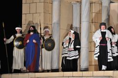 Passion play. Mystery of the Passion - Actors reenacting the Sanhedrin trial of Jesus. Outdoor spectacle, directed by Artur Piotrowski Stock Photos