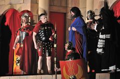 Passion play. Mystery of the Passion - Actors reenact the trial of Jesus in praetorium before Pontius Pilate. Outdoor spectacle, directed by Artur Piotrowski Royalty Free Stock Photos