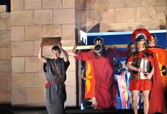 Passion play. Mystery of the Passion - Actors reenacting Christ carrying the Cross to his place of execution. Outdoor spectacle, directed by Artur Piotrowski Royalty Free Stock Photos