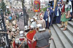 Passion play. Actors reenact guards defending the entrance to Pilate, during the street performances Mystery of the Passion on April 17, 2011 in Gora Kalwaria Royalty Free Stock Photography