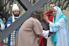 Passion play. Jesus meets His Mother on the way to crucifixion, during the street performances Mystery of the Passion on April 17, 2011 in Gora Kalwaria, Poland Royalty Free Stock Images
