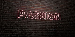 PASSION -Realistic Neon Sign on Brick Wall background - 3D rendered royalty free stock image Stock Image