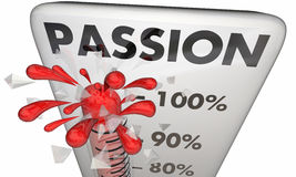 Passion Rising Thermometer Measure Excitement Stock Photos