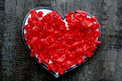 Passion rouge de romance d'amour de coeur de Saint Valentin Images libres de droits