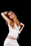 Passion sensual young blonde woman in white dress Stock Photos