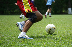 Passion for soccer. Anonimous player soccer Royalty Free Stock Photography