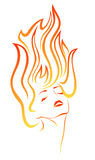 Passion vector. Stylized portrait of  a beautiful girl with flames in her hair Royalty Free Stock Image
