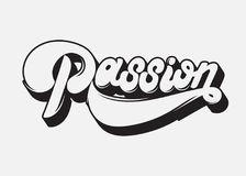 Passion. Vector handwritten lettering made in 90`s style. Stock Photography