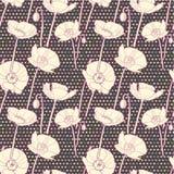 Passion violet seamless poppy pattern Stock Photos