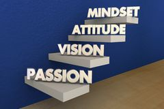 Passion Vision Attitude Mindset Steps. Stairs Words 3d Illustration Royalty Free Stock Image
