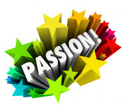 Passion Word 3d Letters Stars Exciting Feeling Intense Emotion. Passion word in 3d letters surrounded by stars to illustrate exciting feelings and intense Royalty Free Stock Image