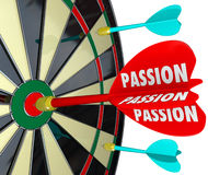 Passion Word Desire Focus Dart Board Dedication Commitment Targe. Passion word on a dart hitting a target on a board to illustrate concentration, desire Royalty Free Stock Images