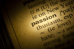 Passion. Word Passion in a dictionary Stock Photo