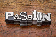 Passion word in metal type Royalty Free Stock Image