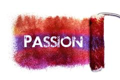 The passion word painting. Color full on white paper by roll painter,isolated royalty free illustration