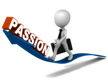 Passion. Word rising on an arrow, little business riding the arrow of growth in personal and business stock illustration