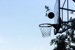 Basketball going through the hoop,Like your goal of your LIFE. royalty free stock image