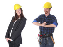 Passionate. Businesswoman and construction worker , couple in passionate on workplace stock photography