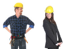 Passionate. Businesswoman and construction worker , couple in passionate on workplace royalty free stock photos