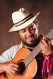 Passionate Afro Man Playing Guitar Stock Photos