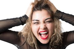 Passionate  aggressive woman cry Stock Photo
