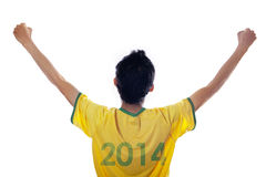 Passionate brazilian fans isolated Royalty Free Stock Photography