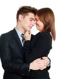 Passionate business couple embracing each other, isolate. On a white background Stock Photo
